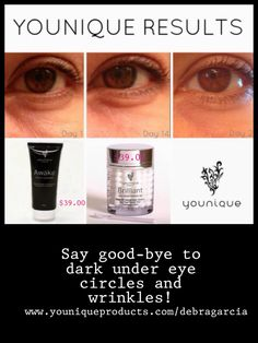 Our Brilliant Daily Moisturizer Gel not only gives your face the moisture it needs but it can lighten your stretch marks. Plus when combined with our Awake Facial Cleanse you can say say good-bye to dark under eye circles and wrinkles. Check out the before and after pics of customers. Ordering is easy just click on my link below. https://www.youniqueproducts.com/debragarcia