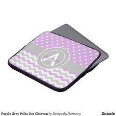 Purple Gray Polka Dot Chevron Laptop Sleeve