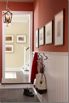 Love the beadboard, hooks and picture placement!