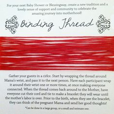 Binding Thread for Baby Shower or Blessingway by Babyloveplanning, $8.00