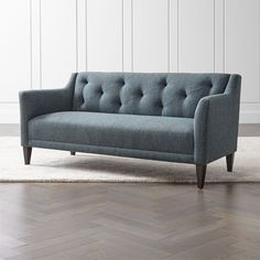 The Margot II Tufted Loveseat is a Crate and Barrel exclusive. Tufted Sofa, Comfortable Sofa, Living Furniture, Blue Walls, Custom Furniture, Furniture Design, Crate And Barrel, Love Seat, Interior Design