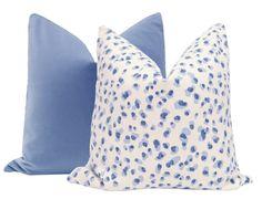 Signature Velvet // Periwinkle – Little Design Co. Periwinkle Bedroom, White Bedroom, Master Bedroom, Bedroom Decor, Blue And White Pillows, Blue Throw Pillows, Velvet Pillows, Big Girl Rooms, Baby Rooms