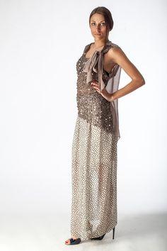 Falda beige de lunares, beige spotted skirt, gonna beige a pois.