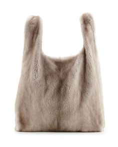 bf16aaf881fc Brunello Cucinelli Mink Fur Satchel with Pull-Through Straps