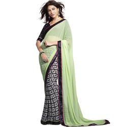 Crepe Lace Work Green & Grey Polka Dot Print Half & Half Saree - 1205A at Rs 2281