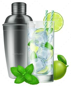 Glass of Mojito and a Silver Shaker