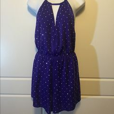 WOW Couture Purple Romper Halter style romper that ties at neck. Silver studs all over. Elastic waist. Never worn! WOW couture Dresses