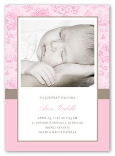 Baby Toile Pink 5x7 Stationery Card | Birth Announcements | Shutterfly