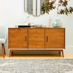 Dual purpose -- buffet/console to store wine & glasses, TV on top. Mid-Century Buffet - Large #westelm