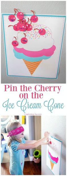 Pin the Cherry on the Ice Cream Cone birthday party game. Free printable included.