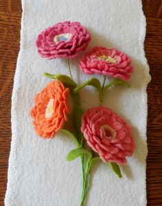 Zinnia Felted Flower create your own bouquet by LilSprigs