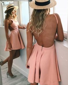 On Sale Excellent Blush Homecoming Dresses Fit & Flare Boat Neck Blush Pink Cut-Out Side Short Satin Homecoming Dress Dresses Short, Junior Dresses, Simple Dresses, Formal Dresses, Evening Dresses, Satin Dresses, Stylish Dresses, Criss Cross, Short Satin