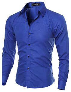ef013650ebb Men s Work Plus Size Cotton Slim Shirt - Solid Colored Basic Spread Collar    Long Sleeve