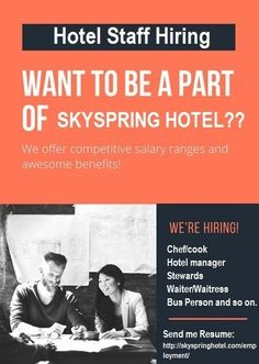 The management of Skyspring Hotel is currently seeking hotel staffs ,interested applicants should contact and apply alongside their resume directly via our employment link http://skyspringhotel.com/employment/
