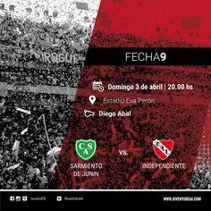 ¡HOY INDEPENDIENTE!  Desde las 20:00, #Independiente y Sarmiento de Junin se enfrentarán por la fecha 9. #VamosRojo