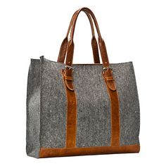 my laptop would be at home in this handmade tote in charcoal wool felt with leather detailing from Graf and Lantz