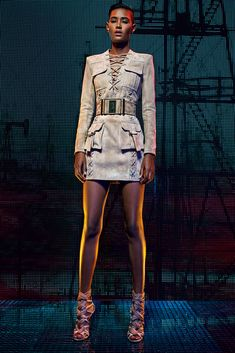 Balmain   Cruise/Resort 2016 Collection via Designer Olivier Rousteing   Modeled by Ysaunny Brito   July 6, 2015; Paris   Style.com