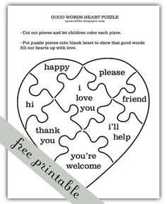 Our Words. Includes activity for learning about how words can help and hurt.