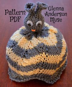 PDF Knitting PATTERN for 3D bumble Bee hat in sizes: Medium Preemie, Large Preemie/Newborn, 6 months, 1 year, and toddler, knitted using