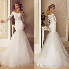 Wholesale Mermaid Wedding Dresses - Buy New Off Shoulder Lace Tulle Long Sleeve Mermaid Wedding Dresses Sexy Gorgeous Garden Beach Bridal Party Gowns 2014 Custom Dimitrius Dalia, $155.5   DHgate