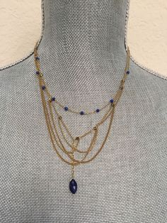 "Chan Luu, Inspiring 16"" Lapis stones on Gold Chain and   Pendent  AUTHENTIC  
