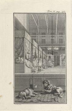 Jacob Folkema   Slaapzaal, Jacob Folkema, 1702 - 1767   Een slaapzaal waar figuren in slaapkleding in bedden liggen die langs de muur staan opgesteld. Op de voorgrond liggen twee honden. Prent rechtsboven gemerkt: Tom. ii. pag. 257.