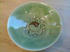 Green celadon with carved lotus design bowl by CarolinaCrockery