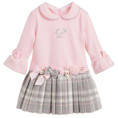 Girls Pink Jersey Dress for Girl by Lapin House. Discover more beautiful designer Dresses for kids online Kids Party Wear Dresses, Dresses Kids Girl, Little Dresses, Girls Fall Outfits, Cute Outfits For Kids, Toddler Outfits, New Baby Dress, Baby Girl Christmas Dresses, 1st Birthday Dresses