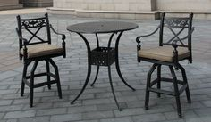 The Contessa Collection 2-Person All Welded Cast Aluminum Patio Furniture Bar Height Set . $1266.00