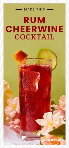 We decided to give the this Cheerwine drink a tropical tinge with vanilla-forward Rum and tangy, fresh lime juice. We also added Pimm's, a gin-based, bittersweet liqueur to add a little complexity. Refreshing Cocktails, Summer Drinks, Fresh Lime Juice, Fresh Fruit, Cocktails For Beginners, Juice Fast, Juicing For Health, Raw Food Diet, Vegetable Drinks