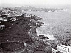 Vista da zona de Beiramar, liña do f.c. para a construción do dique de abrigo (06-11-1953) | Flickr - Photo Sharing!