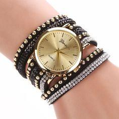 Super Deal, Fashion Women's Watches Retro Bracelet Watch Synthetic Leather Quartz Watch Crystal Bling Dress Montre Relogio