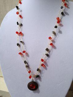 Gunmetal Metallic and Red Beaded Wire by LadybugCharJewelry, $22.00