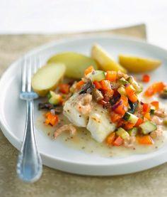 #Cabillaud aux petits #légumes, sauce #moutarde