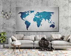 Large Canvas Prints Modern Wall Art for Home & by WALLARTSDECOR Blue Wall Decor, Canvas Wall Decor, Tree Wall Art, Wall Art Decor, Wall Art Prints, 3 Piece Canvas Art, Large Canvas Prints, World Map Canvas, World Map Wall Art