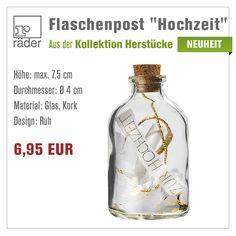 """Herzstücke Flaschenpost """"Hochzeit""""  Die Flasche mit Korkverschluss von Räder Design, gefüllt mit Konfetti, Transparentpapier mit Heißsiegelung und Federn läßt sich im Anschluss vielseitig verwenden.  http://www.hals-ueber-krusekopf.de/xist4c/web/raeder-design-herzstuecke-flaschenpost-hochzeit_id_14345__dId_495219_.htm"""