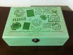 Scatola legno vintage verde menta, by La Flor Azul, 16,90 € su misshobby.com