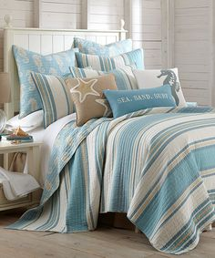 Create a laid-back coastal vibe in your bedroom with the Levtex Home Blue Maui Reversible Quilt Set. This casual and comfy quilt is decked out with classic stripes in blue, white and tan, and it reverses to a whimsical allover seahorse design. Coastal Bedding, Coastal Bedrooms, Coastal Decor, Luxury Bedding, Coastal Style, Ocean Bedding, Coastal Cottage, Beach Bedrooms, Coastal Living