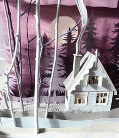Scene Detail, cover of winter 2012 Holland Herald magazine. Paper art by Helen Musselwhite Kirigami, 3d Paper Crafts, Arts And Crafts, Paper Cutting, Papercut Art, Paper Magic, Paper Illustration, Glitter Houses, Paper Artwork