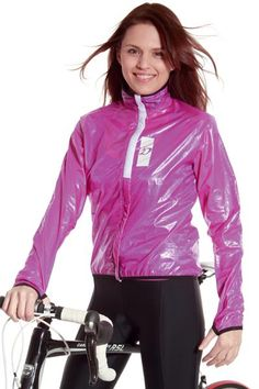Nylon jacket, but love the leggings! Pink Raincoat, Raincoat Jacket, Hooded Raincoat, Raincoats For Women, Jackets For Women, Nylons, Shiny Happy People, Vinyl Dress, Cycling Outfit