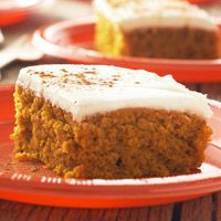 Autumn Pumpkin Bars- conversely for another fall recipe substitute the can of pumpkin for 15 oz of applesauce for an Autumn Apple Bar recipe