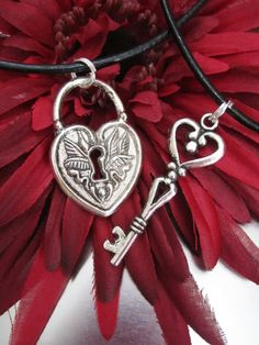 HEART Lock and Key Set with wings - His and Hers - Wedding - Anniversary - Couple - Love - Steampunk  - Christmas on Etsy, $18.00