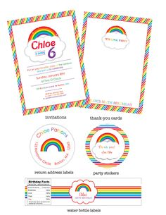 Rainbow Party Custom Invitations Set of 10 by LittlePigPress