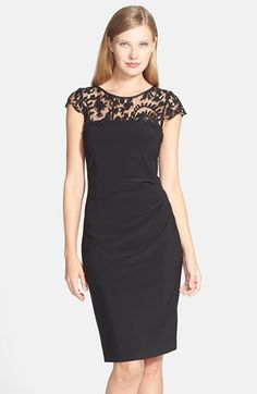 Adrianna Papell Embroidered Yoke Ruched Sheath Dress available at #Nordstrom