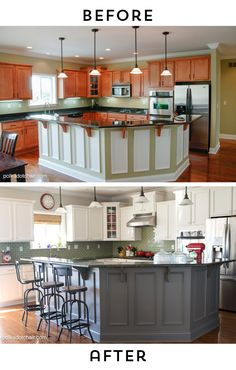 Before And After Photos Of A Kitchen That Had Itu0027s Cabinets Painted White   Lots Of