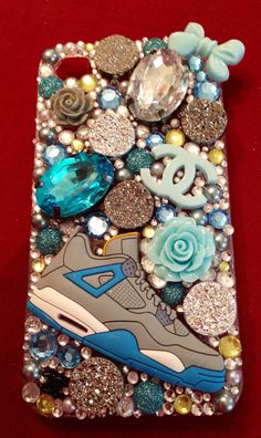 Blue & Gray Themed Jordan Shoe iPhone 4/4s Case by BBBcases, $35.00