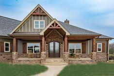 Craftsman Home Exterior, Craftsman Ranch, Rustic Houses Exterior, Craftsman Style House Plans, Modern Farmhouse Exterior, Country House Plans, Rustic House Plans, Home Designs Exterior, Brick House Plans