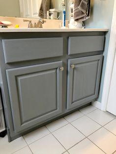Lauren of Mom Home Guide transforms a dated oak cabinet into a beautiful bathroom vanity with easy to use Satin Enamels Paint by Americana Decor. Oak Bathroom Vanity, Bathroom Mirrors Diy, Large Bathrooms, Bathroom Design Small, Bathroom Cabinets, Bathroom Sets, Modern Bathroom, Master Bathrooms, Blue Bathrooms