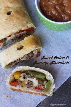 Sweet Onion and Sausage Stromboli on MyRecipeMagic.com