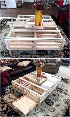 repurposed wood pallet coffee table